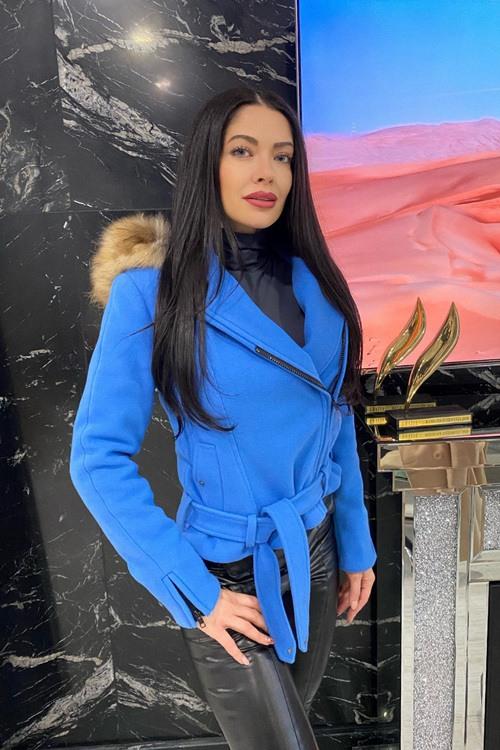 Way too fly зимно палто от еко кашмир - синьо