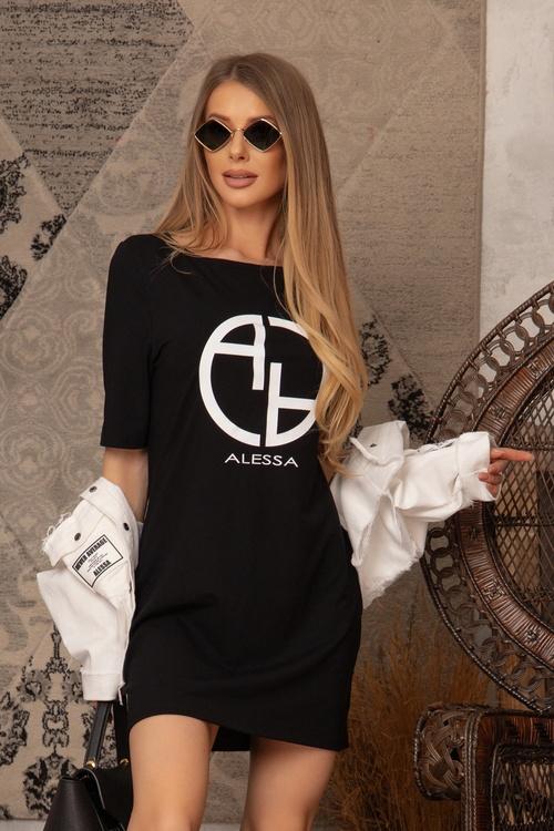 Alessa logo рокля - черна