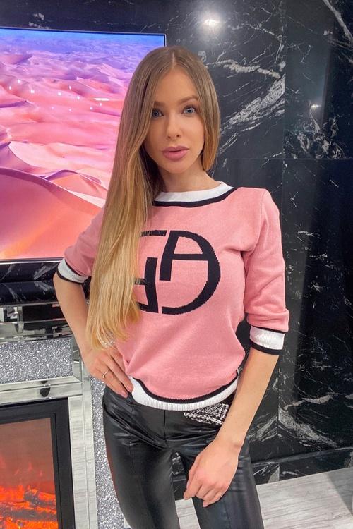 Alessa Лого Пуловер От Плетиво 3/4 ръкав - пудра