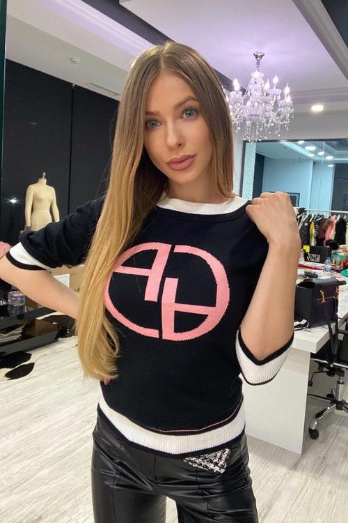 Alessa лого пуловер от плетиво 3/4 ръкав - черен