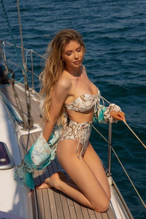 All I Want Is A Yacht Бански Бикини С Висока Талия - Beige