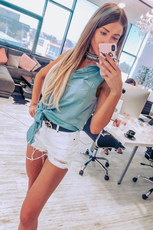 Риза от луксозен жоржет без ръкави - синьо