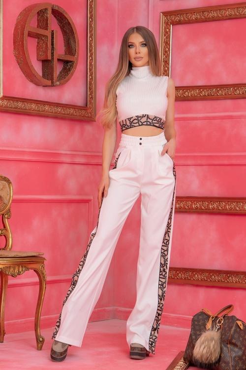 Alessa luxury панталон с широк крачол - Бял