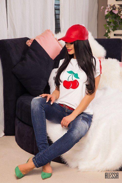 Cherry топ - бял