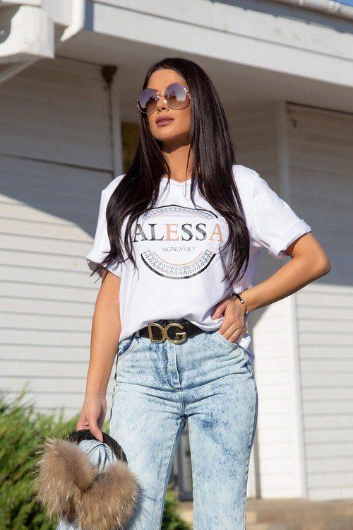Alessa monopoly boyfriend t-shirt - бял