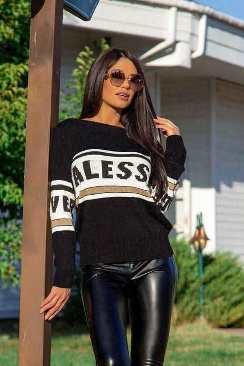 NA пуловер от плетиво - черен