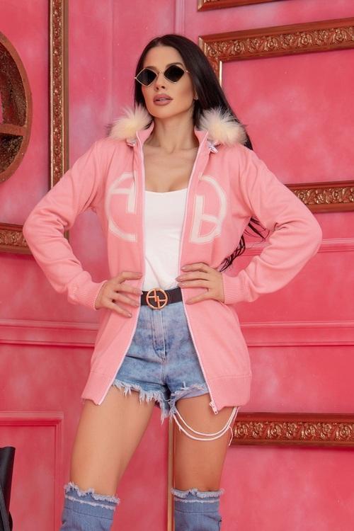 Alessa Лого Жилетка От Плетиво с подвижна качулка - Pink