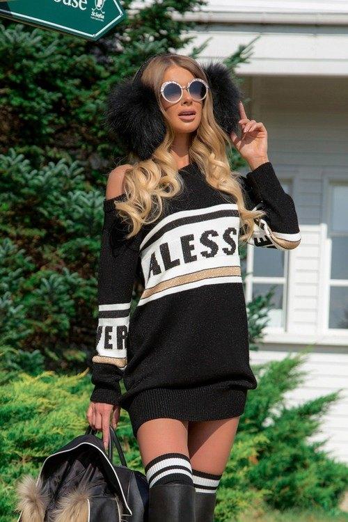 NA пуловер-рокля от плетиво - черен