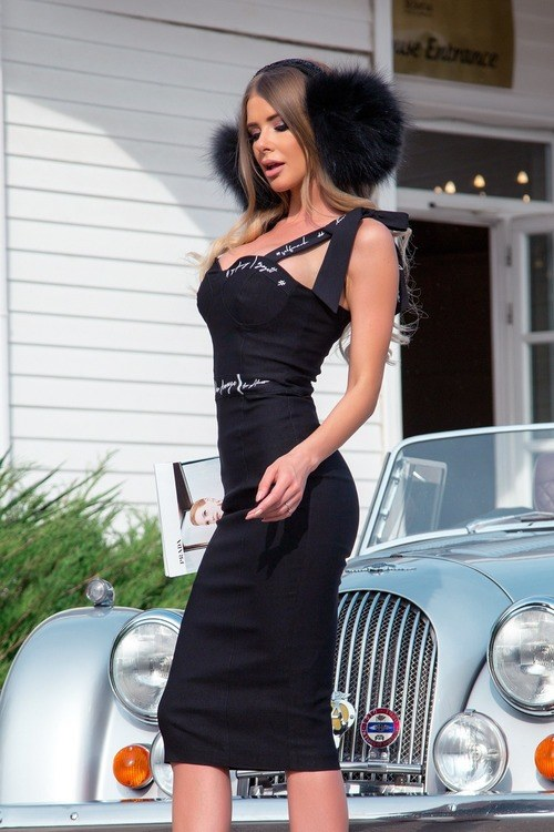 Helluva body bodycon рокля - черна