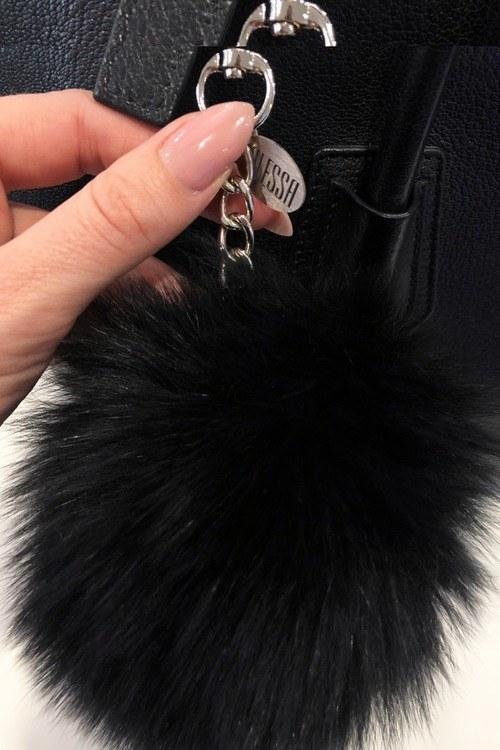 Pom Pom аксесоар естествен косъм за чанта - черен
