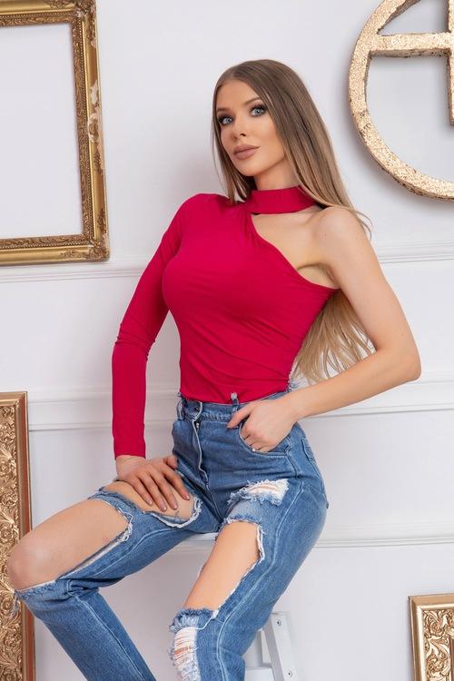 Блуза С Един Ръкав - Raspberry