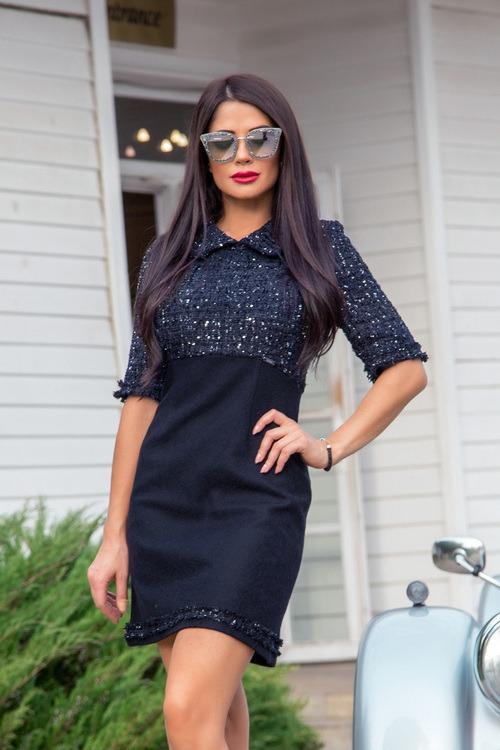 That's the business рокля от букле - тъмносиньо