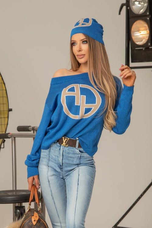 Alessa лого пуловер от плетиво - син