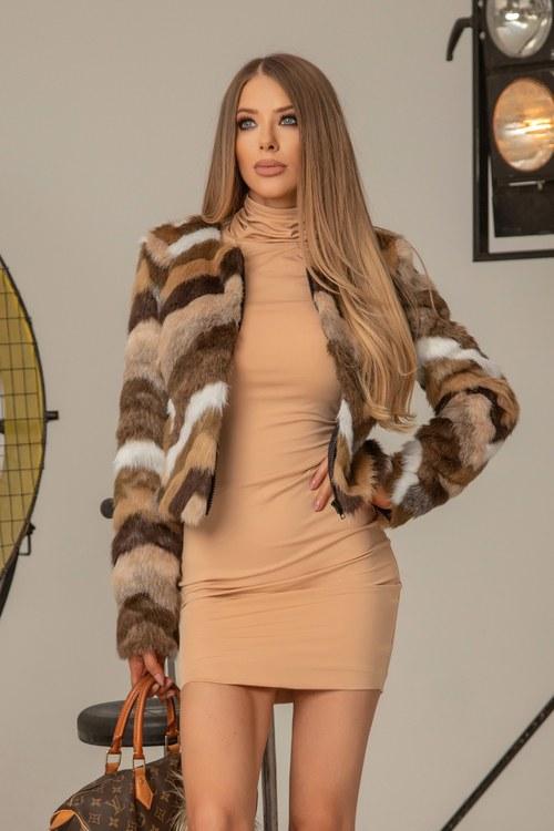 I'm into you топло палтенце от еко косъм - кафяво
