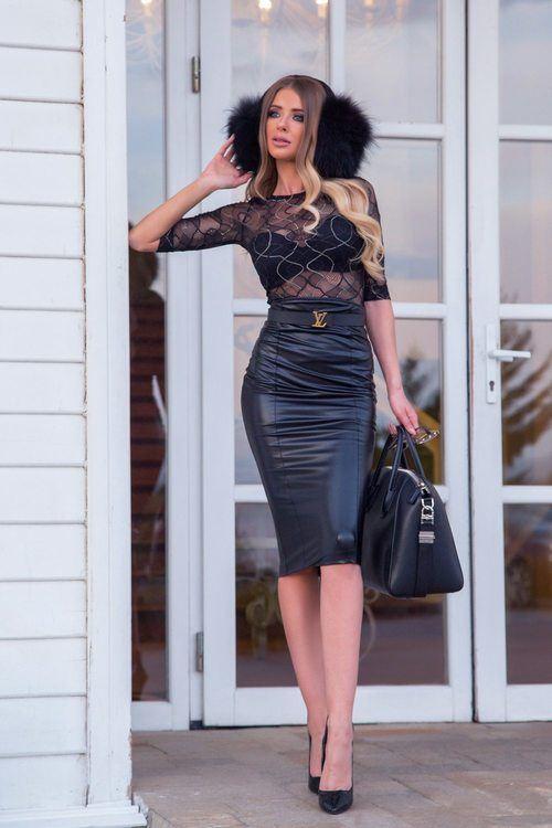 Mrs Famous кожена пола