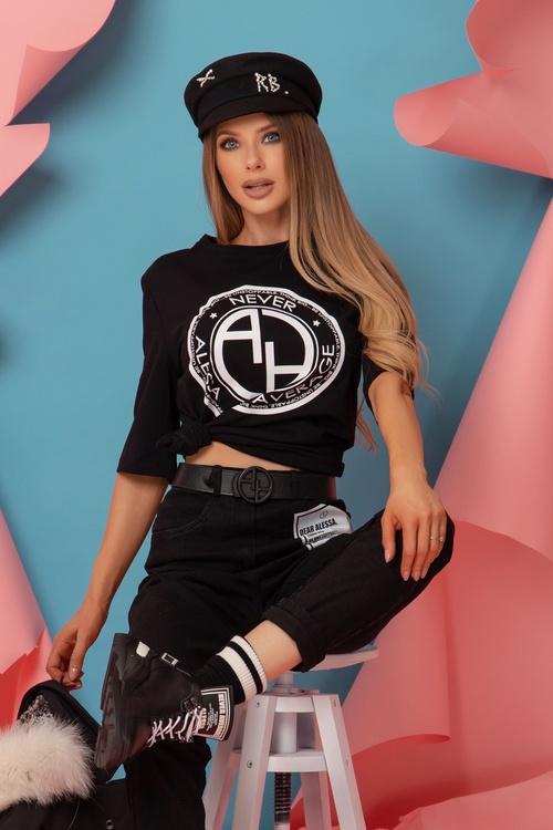 Revolve Around Me T-Shirt - Черна с Бяло Лого