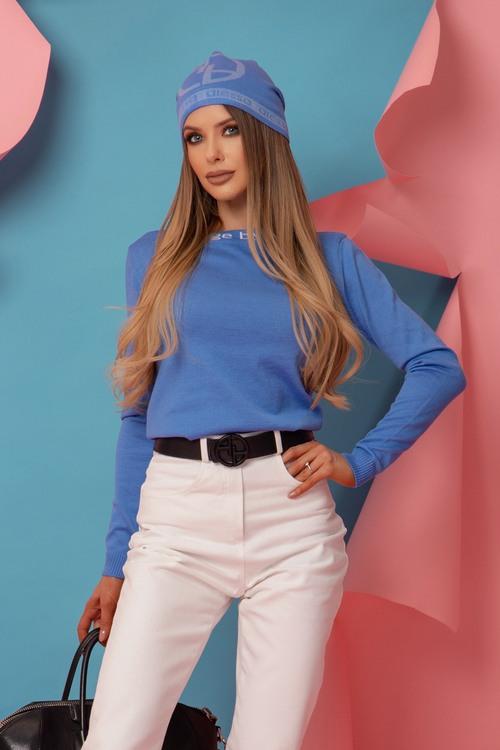 Alessa Лого Шапка От Плетиво - Sky Blue
