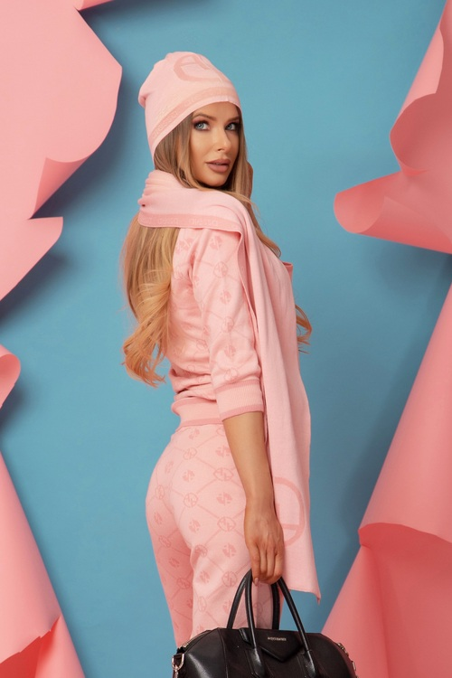 Alessa Лого Шал От Плетиво - Sweet Pink