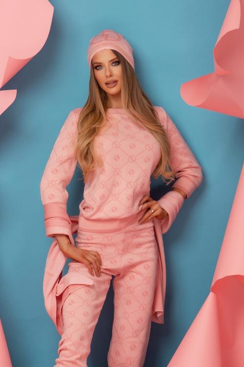 Alessa Лого Шапка От Плетиво - Sweet Pink