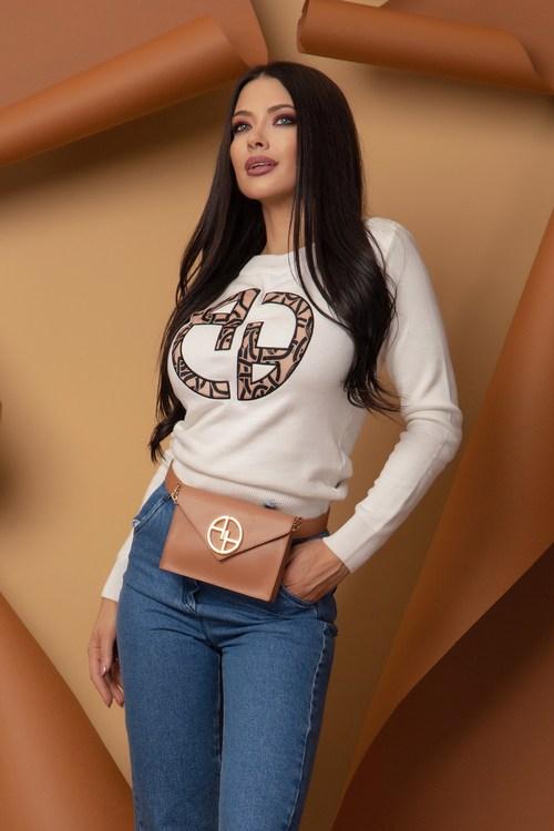 Alessa Luxury Logo Пуловер От Плетиво - Екрю