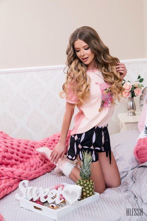 Alessa owl homewear T-shirt - пудра