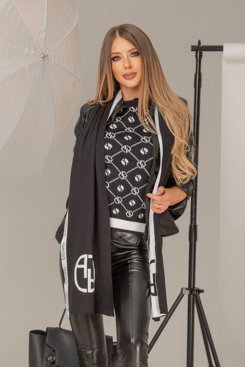 Alessa лого шал от плетиво - черно-бял