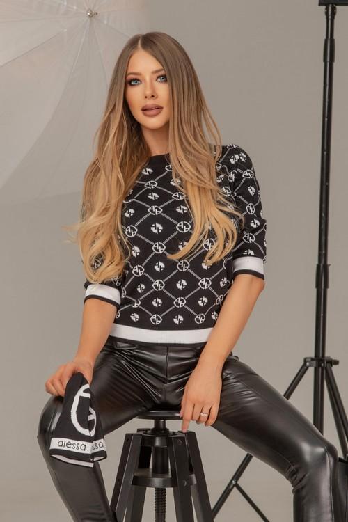 Alessa rеligion пуловер от плетиво 3/4 ръкав - черно-бял