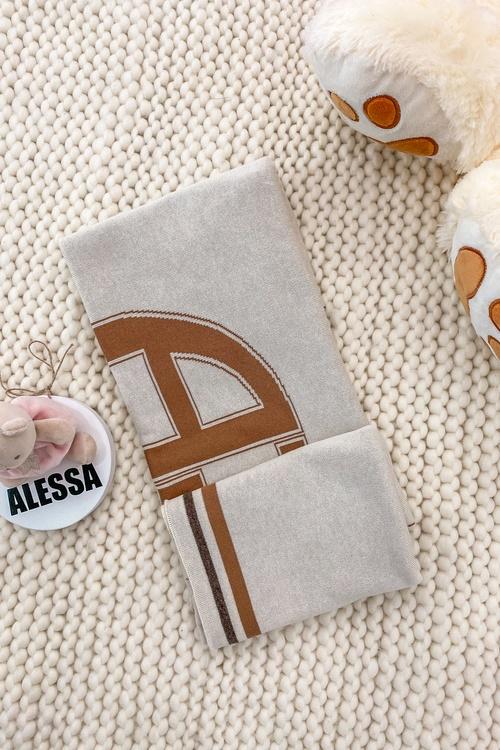 Alessa mini Лого Одеяло От Плетиво - Мока