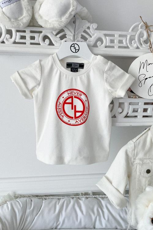 Alessa Red logo mini t-shirt - екрю