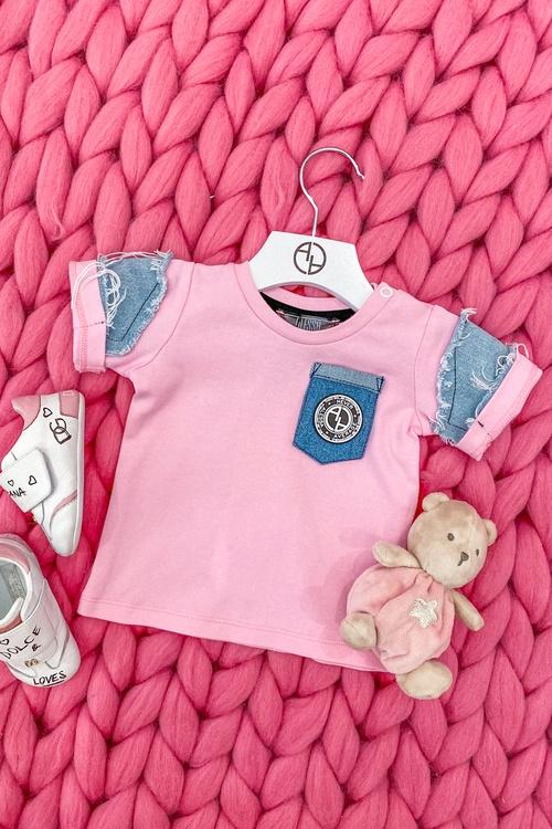 Alessa Mini Denim T-Shirt - Pink