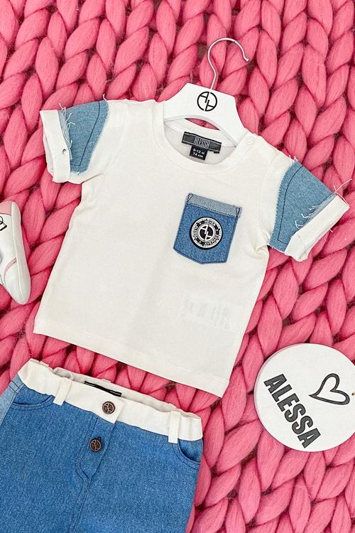 Alessa Mini Denim T-Shirt - Екрю