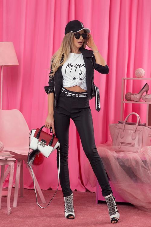 Can't ignore you панталон с висока талия - черен