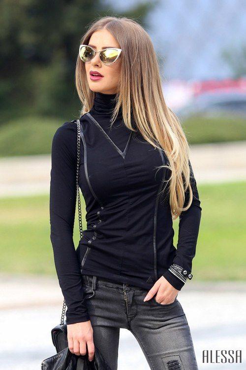 Блуза - поло с кожени улеи