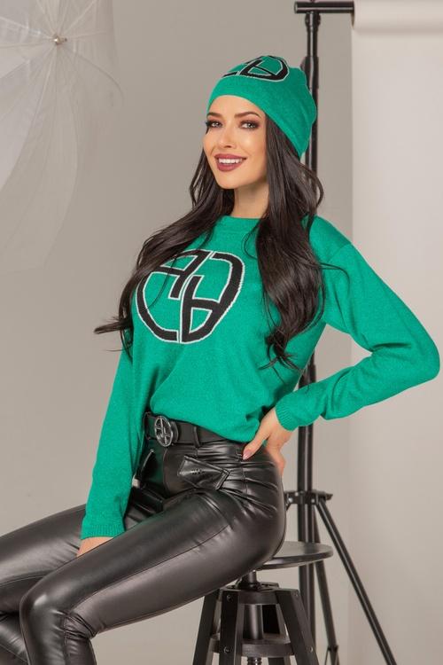 Alessa лого пуловер от плетиво - зелен