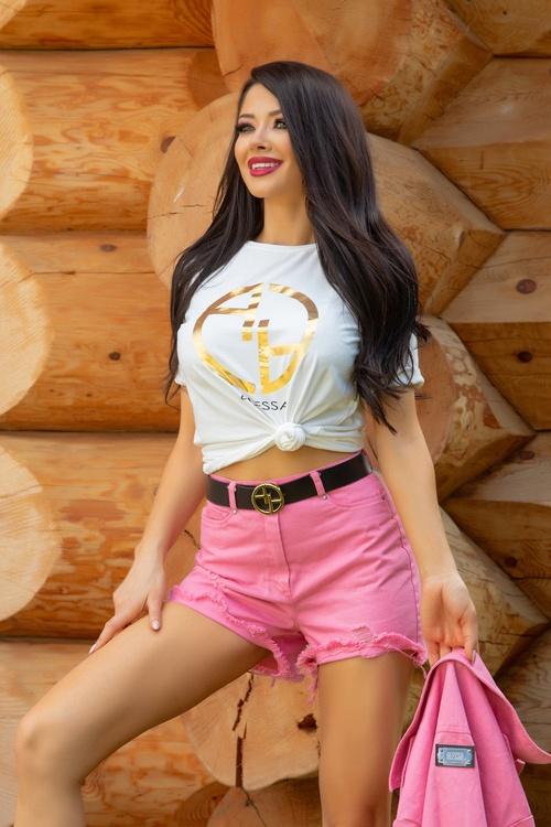 Alessa logo t-shirt - шампанско