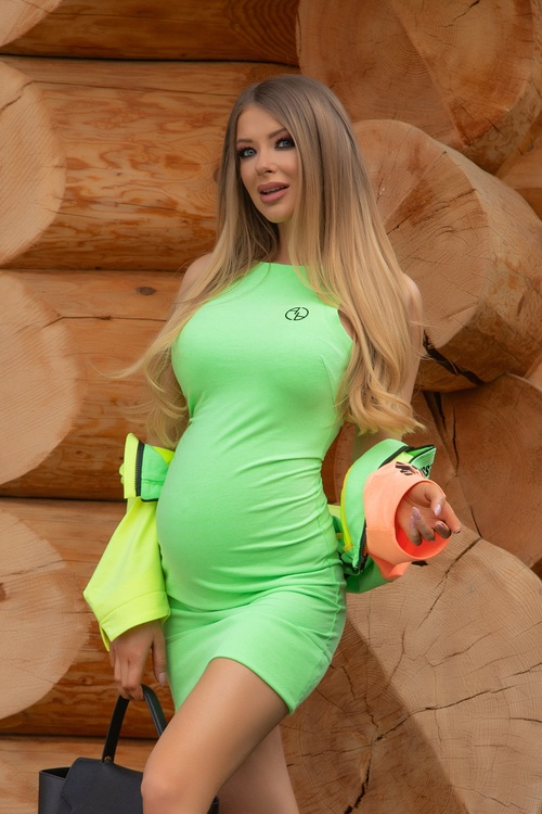 City lights bodycon рокля - зелен неон