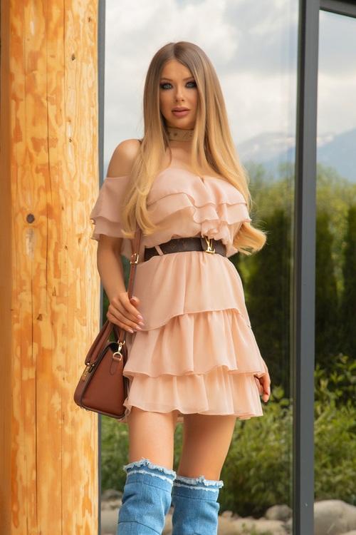 Love potion ruffles рокля - nude