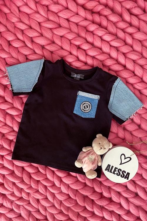 Alessa Mini Denim T-Shirt - Черна