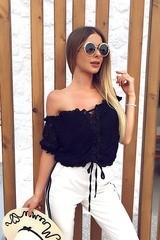 Angel aura блуза-лодка - черен