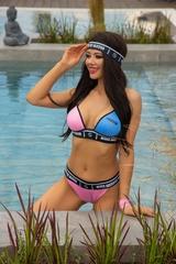 She baller бански топ триъгълници - розово и синьо