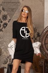 Alessa logo рокля - черна - Изображение 5