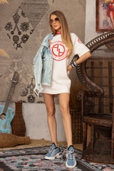 Alessa logo рокля - Екрю - Изображение 4