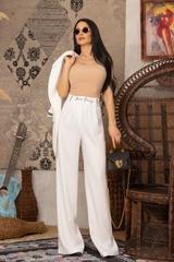 Steal my style Панталон с подвижен колан - Екрю - Изображение 7