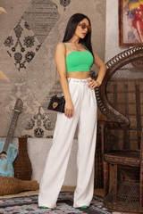 Steal my style Панталон с подвижен колан - Екрю - Изображение 8
