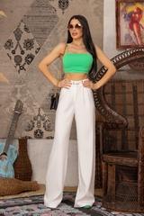 Steal my style Панталон с подвижен колан - Екрю - Изображение 9