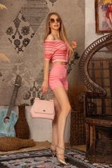 Stop and Stare къса блузка - Розовo Райе - Изображение 8