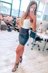Bossy велурена пола с висока талия