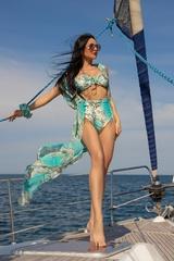 All I Want Is A Yacht Бански Бикини С Висока Талия - Aqua - Изображение 6