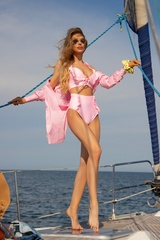 Eternal Sunshine Бански Кроп-Топ ruffles - Light Pink - Изображение 5