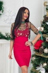 Червена къса рокля по тяло Фатално привличане - Изображение 1
